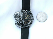 WESTERN COVERED WAGON WATCH-WHEELS REALLY TURN!-ROMAN NUMERALS-PEWTER ROPE BEZEL