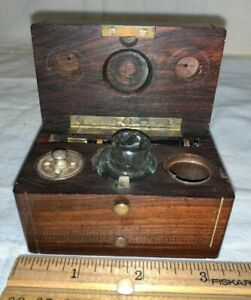 ANTIQUE SMALL TRAVEL WRITING SET WOOD BOX INKWELL FOUNTAIN PEN OFFICE DESK N LAP
