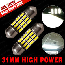 2 X White High Power 31MM Festoon 12 LED Car Map Dome lights DE3175 216LMS 12V