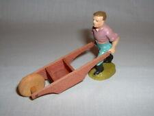 Vintage German Composition Christmas Putz Figure Pushing Wheel Barrow