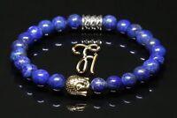 Lapislazuli blau glänzend Armband Bracelet Perlenarmband Buddhakopf gold 8mm