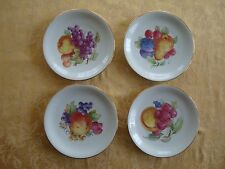"Set of 4 ZEH SCHERZER Bavaria Germany Fruit Plate White w/ Gold Trim 7.5"""