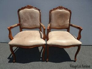 Pair of Vintage French Country Brown Leather Accent Chairs Set 1