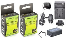 2-Pc Hi-Capacity NP-FW50 Li-Ion Battery & Charger For Sony Alpha A6000 ILCE-6000