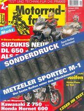 Metzeler Sportec M-1 Test Sonderdruck MF 1/04 2004 Testbericht Reifen Reifentest