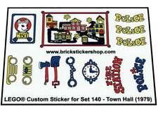 Precut Custom Replacement Stickers voor Lego Set 140 - Town Hall (1979)