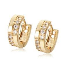 Womens Girl Yellow Gold Filled Rhinestone Huggie Small Hoop Earrings Fashion