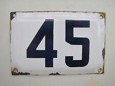 vintage ISRAELI enamel porcelain number 45 house sign # 45