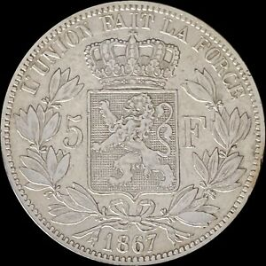 1867 Belgium 5 Francs (Silver) - No Dot