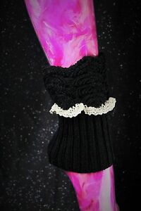 GothicScalloped Leg Warmers Boot Toppers Patterned Black W/Ivory Lace Trim