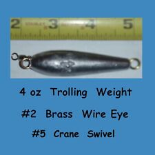 5 - 4 oz  Inline Trolling lead  weight  fishing  Sinkers with #5  Crane Swivel