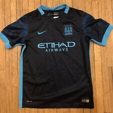 Manchester City Etihad Airways Nike Dri Fit Blue Youth Large Soccer Jersey 614c5a62c