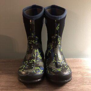 Bogs Boys Snow Boots Size 3 Black Blue Green