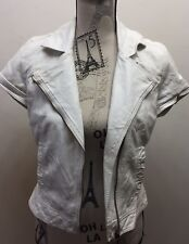 Zara TRF Women Faux Leather Jacket Short Sleeve White Small