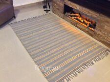 GREY BLUE NATURAL Cotton Jute Handmade Washable Kilim Rugs Durries ECO Friendly