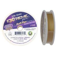 "Soft Flex Extreme 24k Gold Beading Flex Wire .014"" 30ft Round Bright Jewelry"