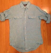 Men's Sm POLO By Ralph Lauren 100% Linen Shirt Blue Stripe Button Up Custom Fit