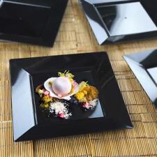 "10/pk  Black 8"" Square Disposable Plastic Plate  Catering"