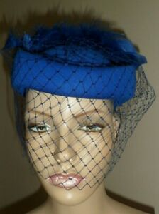VINTAGE CONNOR ROYAL BLUE BOX COCKTAIL WEDDING PILL BOX  FEATHER PLUME DRESS HAT