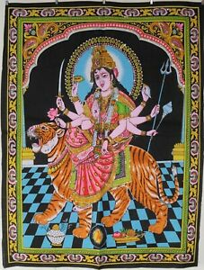 Indien Durga Amba Hindu Goddess Sequinned Wall Hanging Fair Trade 80 x 110cm