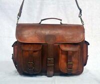 """18"""" Large vintage leather messenger satchel bag genuine laptop brown briefcase"""