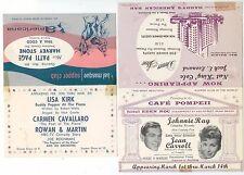 c1950s Miami Beach Florida performer ad cards Rowan & Martin Johnnie Ray NK Cole