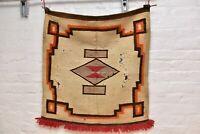 "Atq VTG Navajo Saddle Blanket Rug Native American Indian textile Weaving 30x29"""