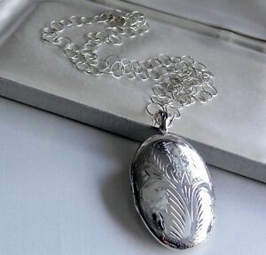 """✨KNOCKOUT✨ 23g sterling silver 925 fully HM etched LARGE opening locket 32.5"""""""