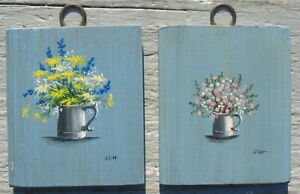 Vtg Hand Painted Mini Wall Wood Art Floral Flowers Coffee Pot Pair Tiny Painting