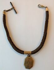 VINTAGE HUMAN HAIR WATCH FOB MOURNING JEWELRY & LOCKET ST3