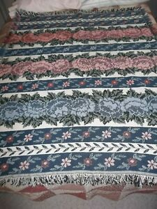 "Tapestry throw blanket afghan fringe 56"" x 48"" both sides are nice blue pink grn"
