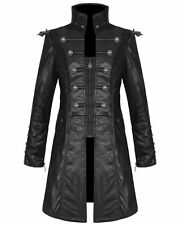 Zip Faux Leather Long Military Coats & Jackets for Men