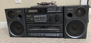 Panasonic Boombox Ghetto Blaster RX-DT680 S-XBS Radio Dual Cassettes CD Bass