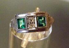 PLATINUM Mine Cut Diamond Emerald DECO EDWARDIAN Wedding Engagement Band Ring