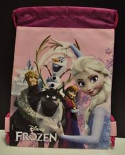 Disney Frozen Elsa & Anna Drawstring backpack travel purse bag in pink NEW