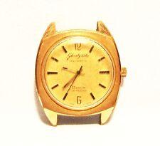 DDR GUB Glashütte Herren Armbanduhr Spezimatic Bison 14 Kt vergoldet um 1960 RAR