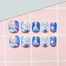 24PCS For Kids Child Disney Cute Adorable False Fake Nails Tips Stickers French