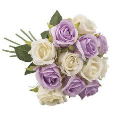 12 Head Fake Rose Artificial Silk Peony Flower Bridal Wedding Decor Purple&White