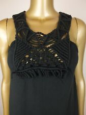 COUNTRY ROAD TANK TOP SHIRT BLOUSE BLACK TOP TUNIC - MACRAME FRONT - S