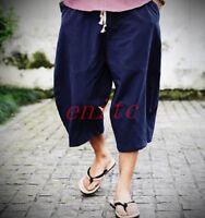 2019 New Mens Loose Knickerbockers Cropped Pants Cotton Linen Retro Stylish &&