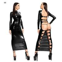 Women PVC Bodysuits Clubwear Hollow Backles Fancy Dress Vinny Wet Look Catsuits