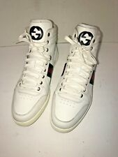 Gucci White Leather GG Guccissima Web High Top Sneakers 10.5 G 221825