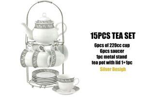 Tri Star SILVER, Coffee Tea Set 14 PCS Metal Rack Pot Cup Saucer Kitchen Gift Go