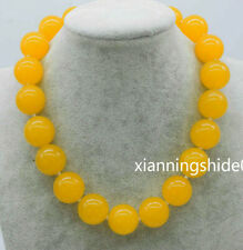 "Wholesale Nature 20mm Yellow Topaz Gemstone Round Beads Necklace 18"" gift"