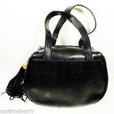 Tua Braccialini Italy Black Lizard Faux Leather Tassel Satchel Purse Handbag bag