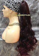 Long Spiral Curls Black Burgundy Mix Ponytail Hair Piece Extension #T1B.BURG NWT