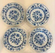 Antique Meissen Blue Onion Bowls/Plates (4), Encircled Mark, German, Excellent