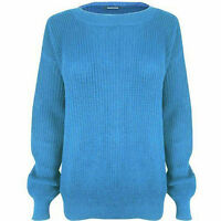 Women's Knitted Plain Chunky Baggy Jumper Ladies Oversized Fisherman Sweater Top