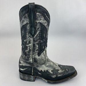 CORRAL R2214 Charcoal Black Eagle Square Toe Cowboy Distressed Boots US8 D UK7.5