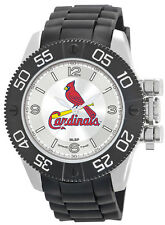 St Louis Cardinals Watch Game Time Beast Mens Black Wristwatch with Locking Crow